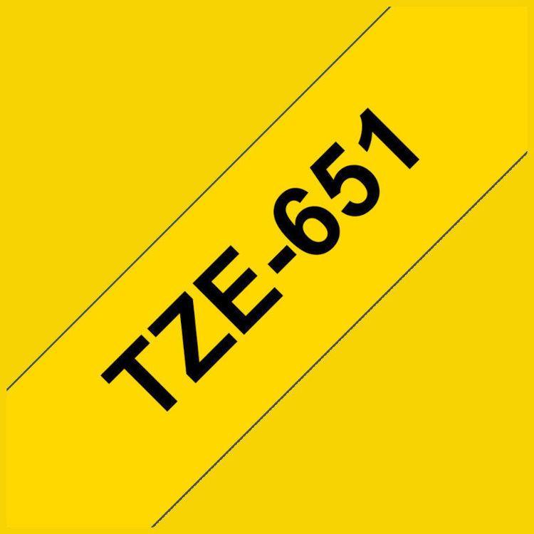 Alles BROTHER traka za označavanje TZE651 ŽUTA-CRNA