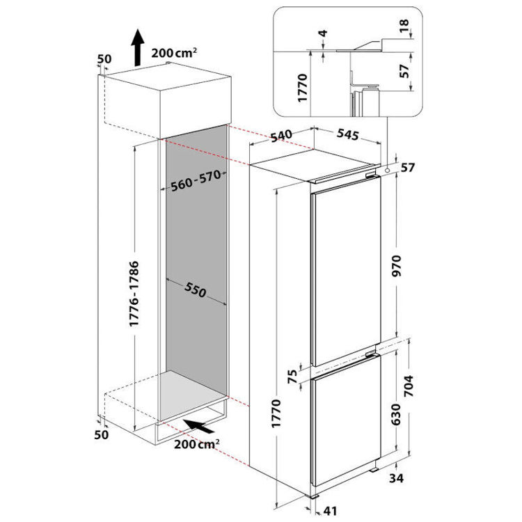 INDESIT hladnjak ugradbeni B18 A1 D/I 1